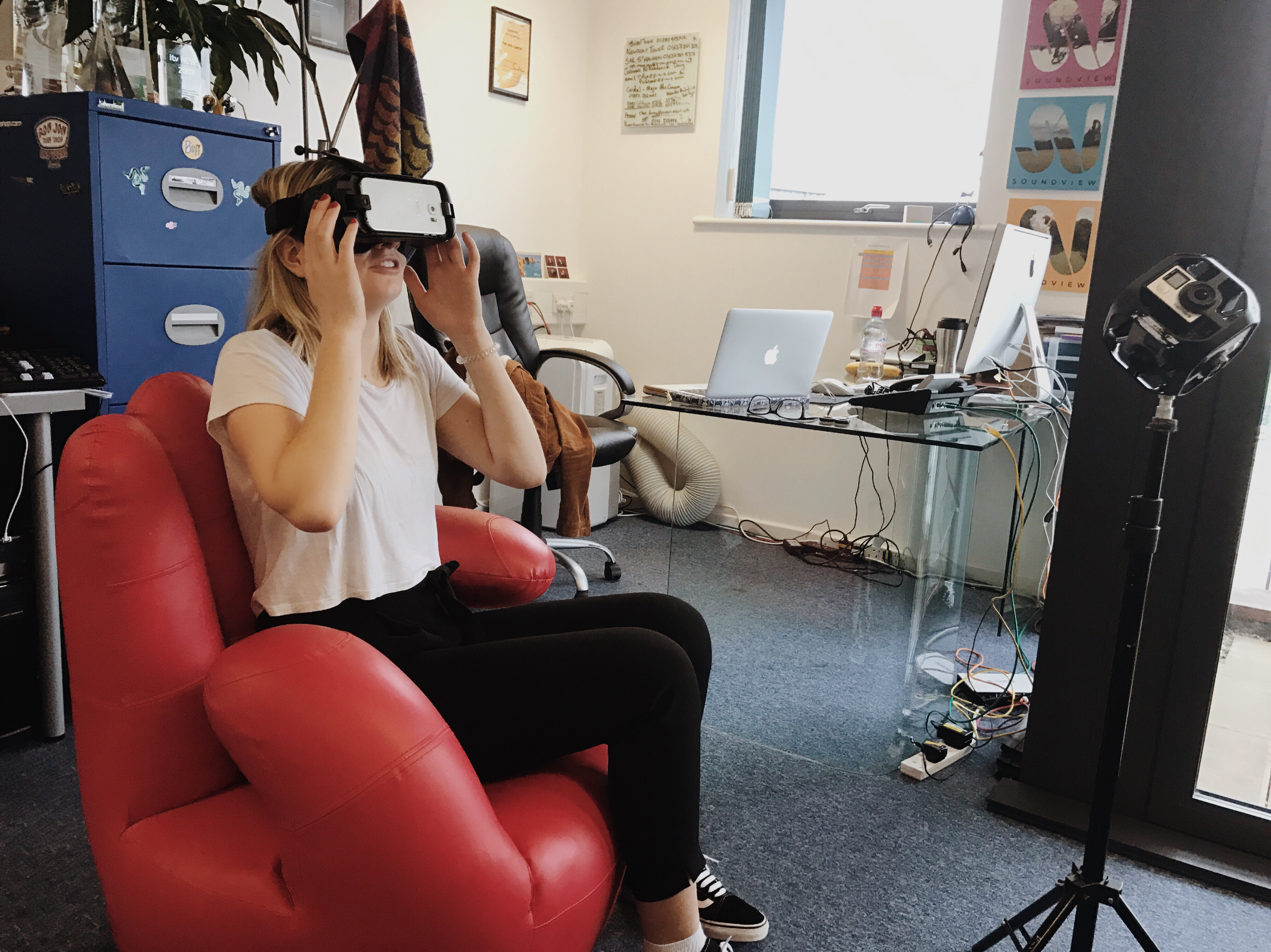 New 360 VR accessory comfortable experience. A red chair to experience comfort whilst checking out 360 VR.