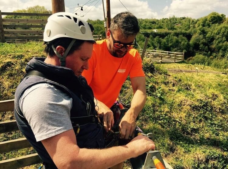 Promotional video production Hangloose Cornwall creating 360 VR tour. Chris getting prepared to be launched on one of the Hangloose rides.