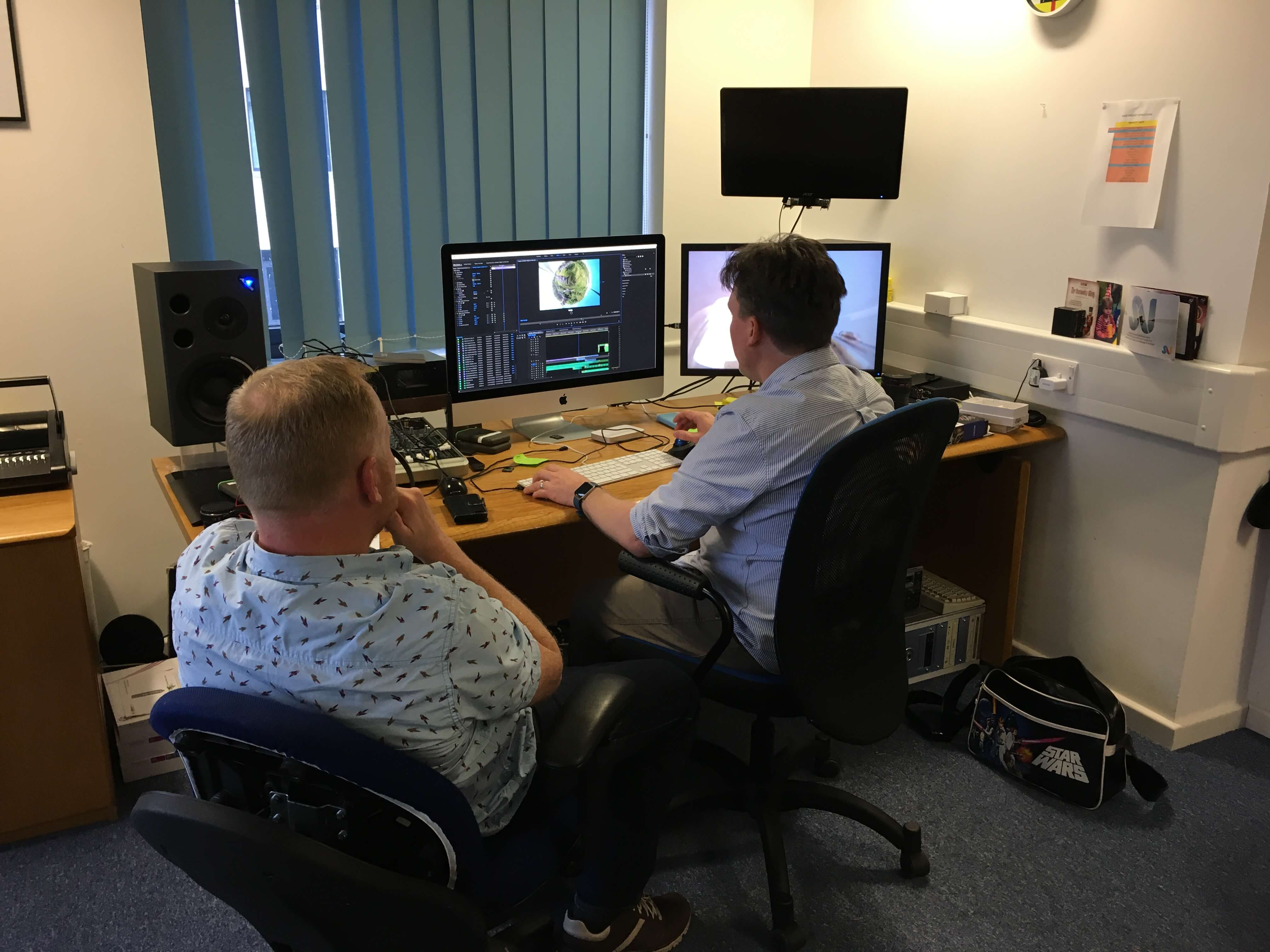 Promotional video production Hangloose Cornwall creating 360 VR tour. Editing the 360 VR tour video in the office