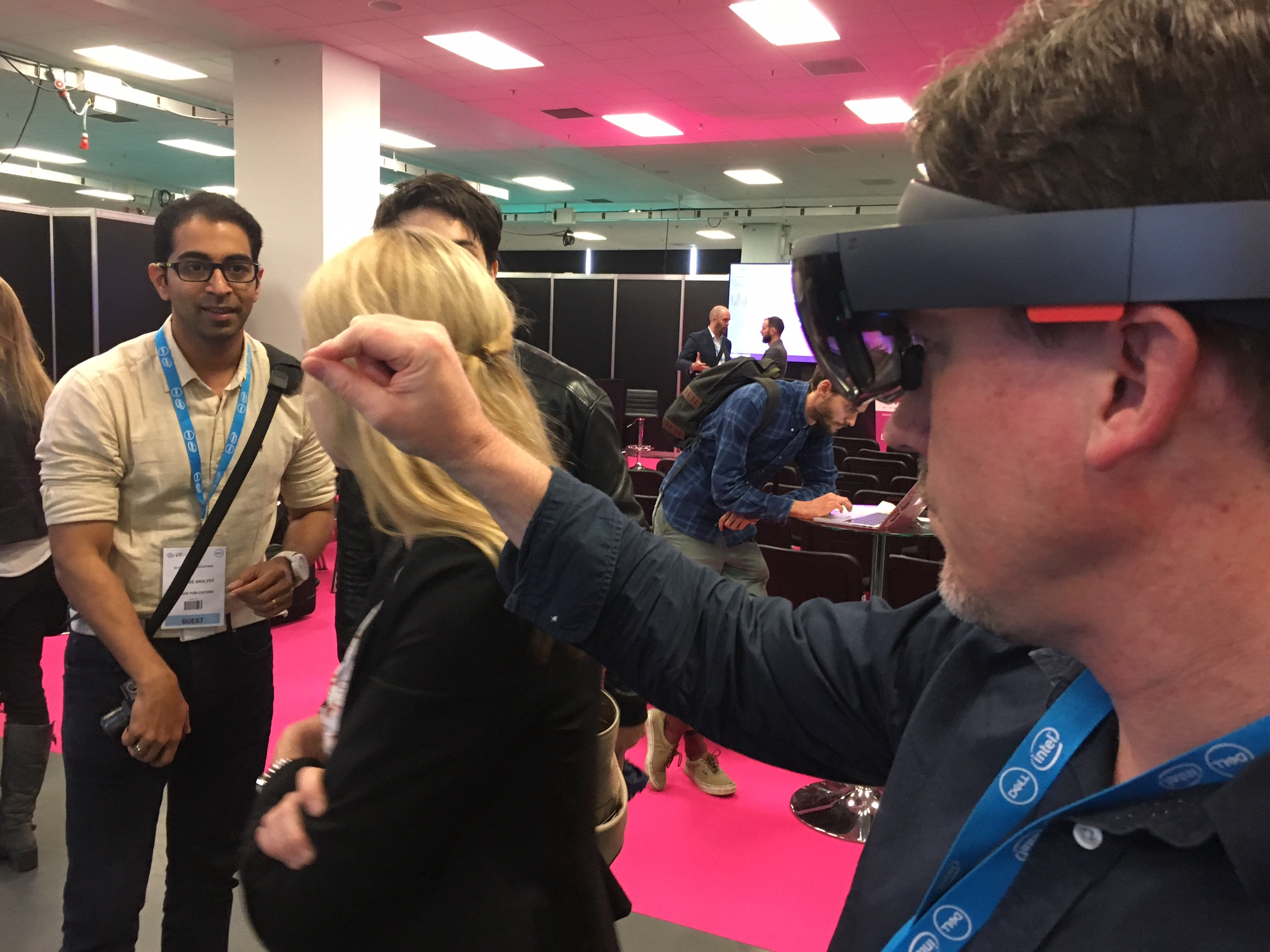 South West video production London Olympia VR conference. Chris trying out the Micorsoft HoloLens kit with holograpic images