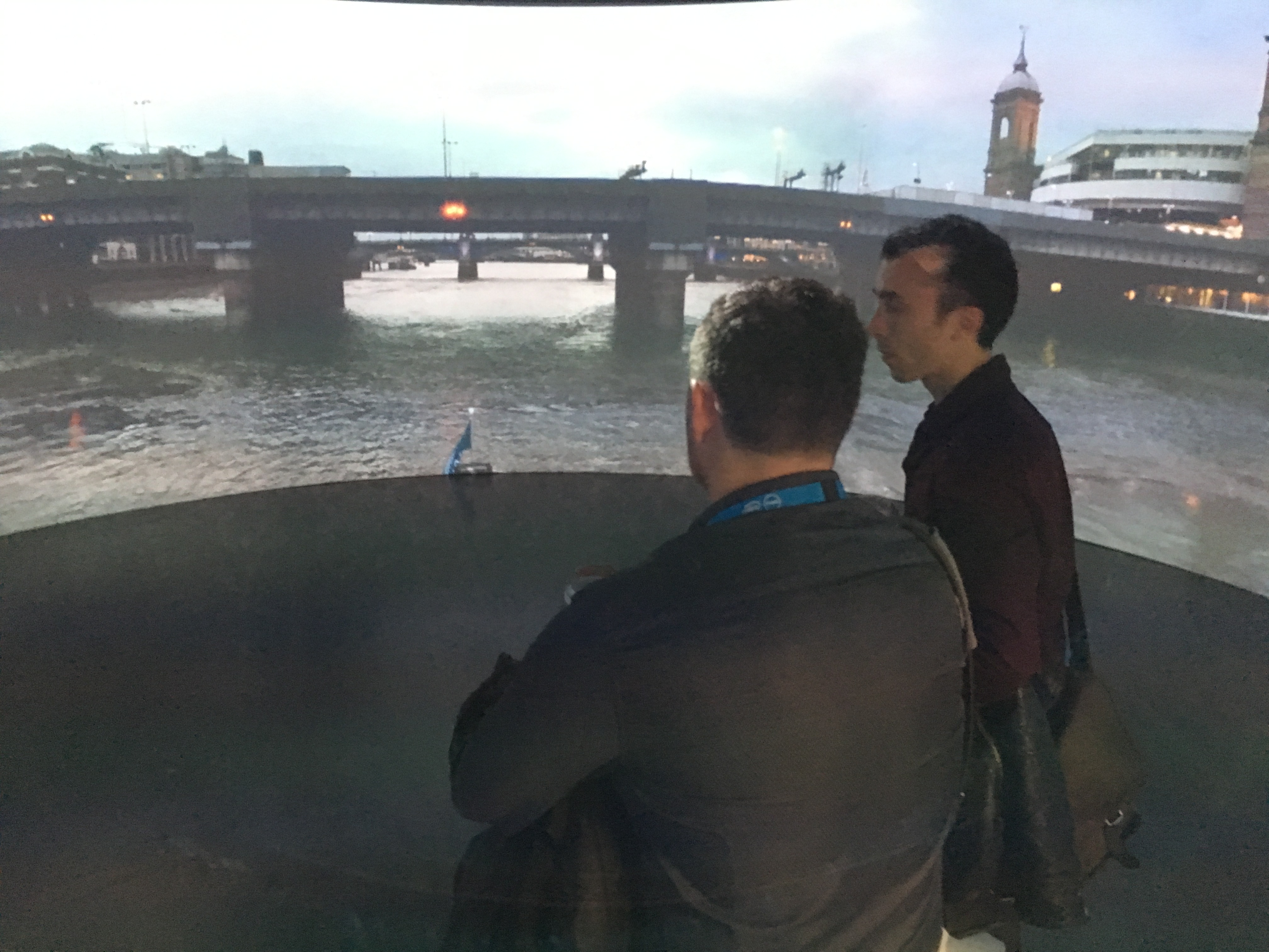 South West video production London Olympia VR conference. The Igloo Vision 360 dome acting as a VR environment around you.