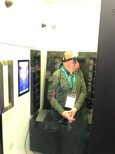 South West video production London Olympia VR conference. Gareth trying out the Sensiks sensory booth.