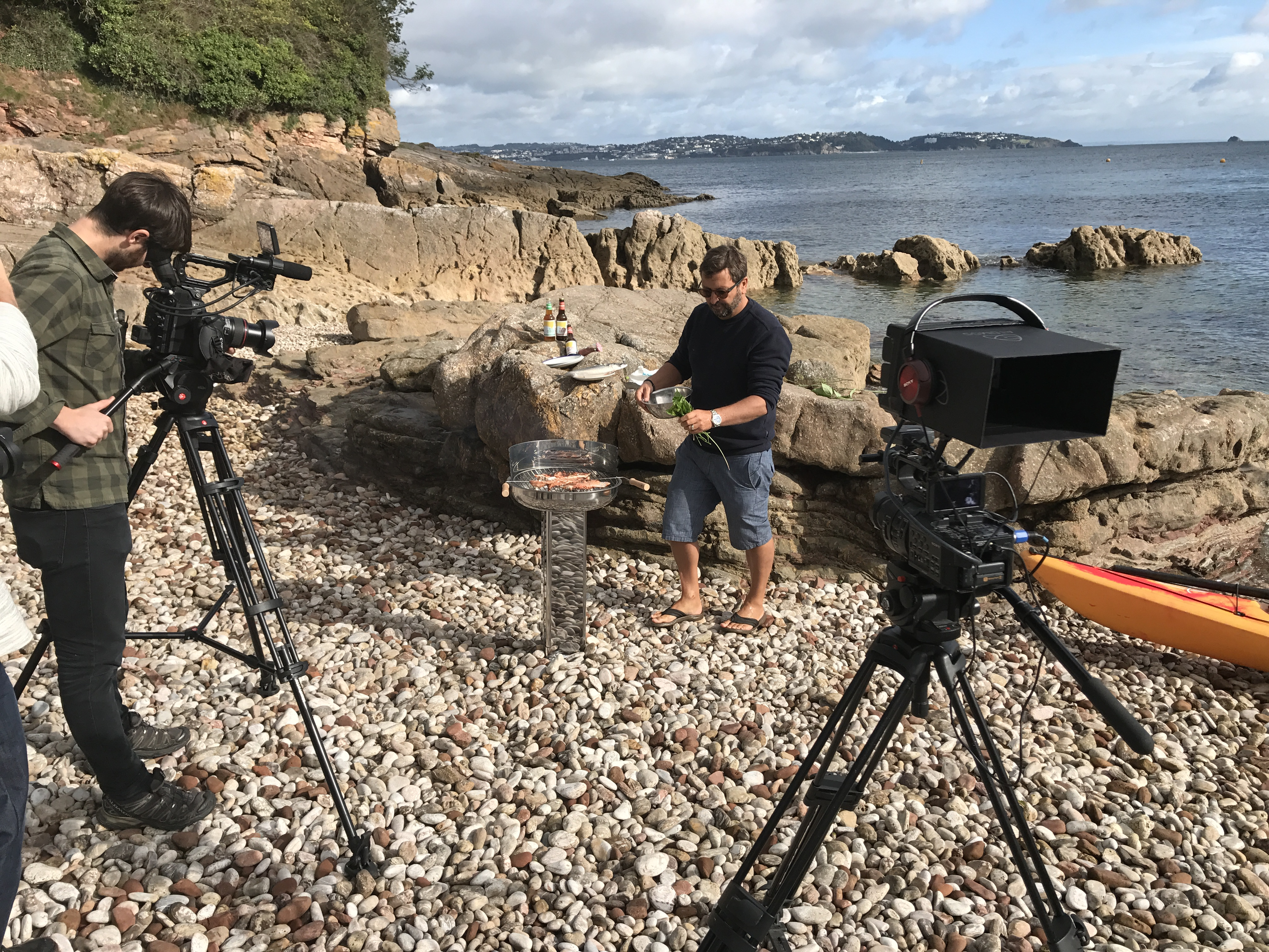 England's Seafood Coast video BBQ Seafood Ambassador Mitch Tonk. We were filming on Elberry Cove filming a how to, to cooking Mackerel on a BBQ.